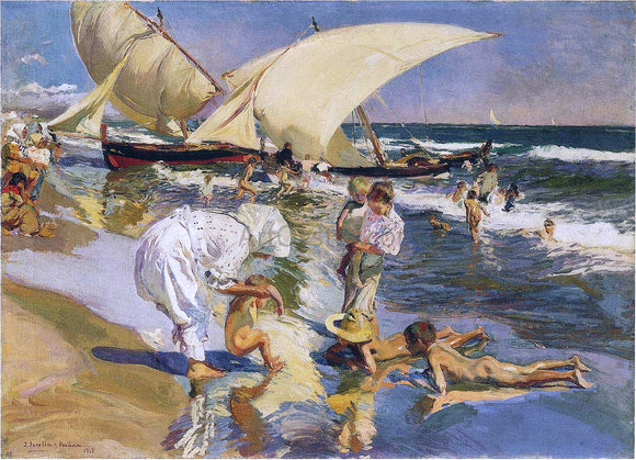 Joaquin Sorolla Y Bastida Valencia Beach in the Morning Light - Canvas Art Print