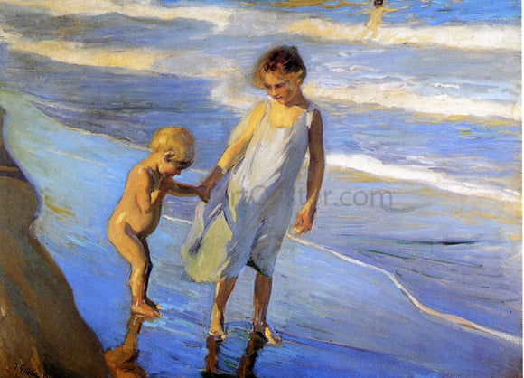 Joaquin Sorolla Y Bastida Valencia, Two LIttle Girls on a Beach - Canvas Art Print