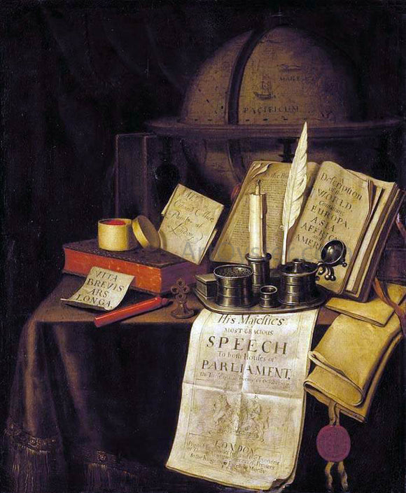 Edwart Collier Vanitas Still-Life - Canvas Art Print