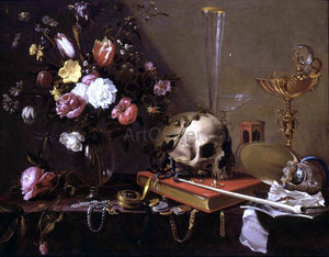Adriaen Van Utrecht Vanitas Still-Life with a Bouquet and a Skull - Canvas Art Print
