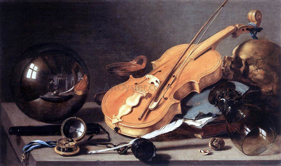 Pieter Claesz Vanitas with Violin and Glass Ball - Canvas Art Print