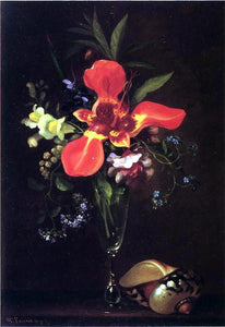 Paul Lacroix Vase of Flowers and a Shell - Canvas Art Print