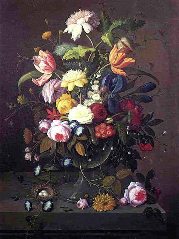 Severin Roesen Vase of Flowers in Footed Glass Bowl with Bird's Nest - Canvas Art Print