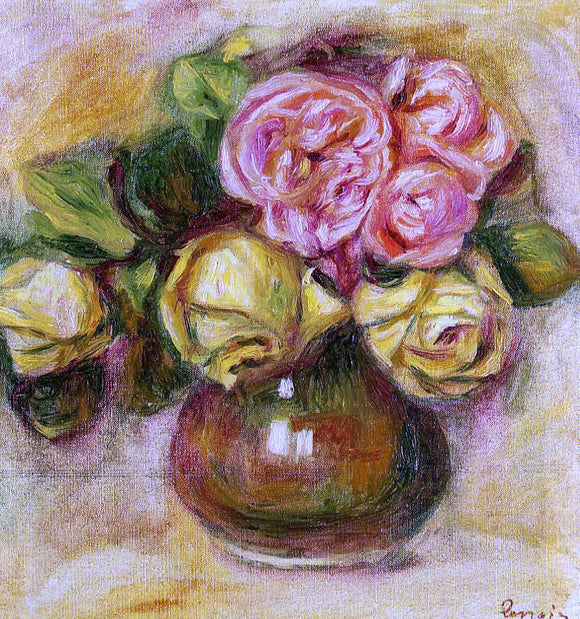 Pierre Auguste Renoir Vase of Roses - Canvas Art Print