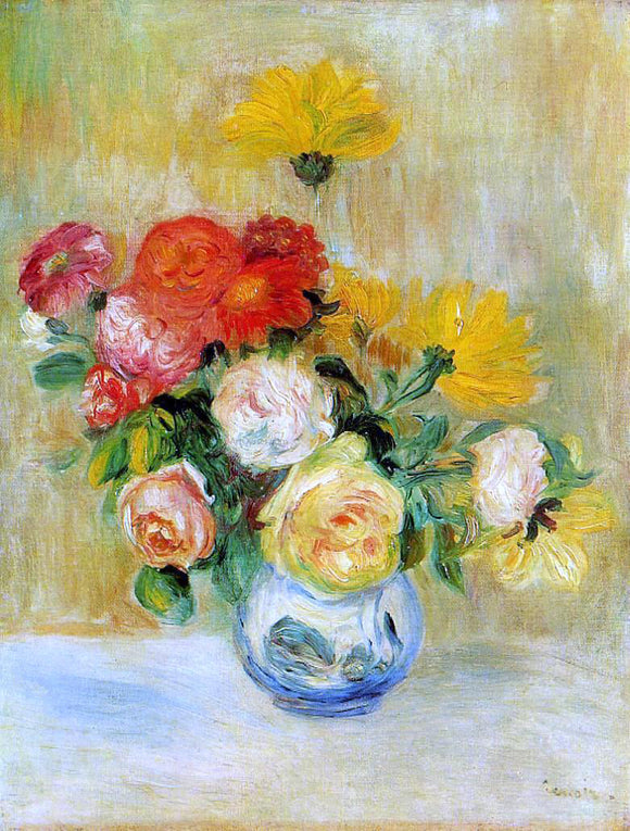 Pierre Auguste Renoir Vase of Roses and Dahlias - Canvas Art Print