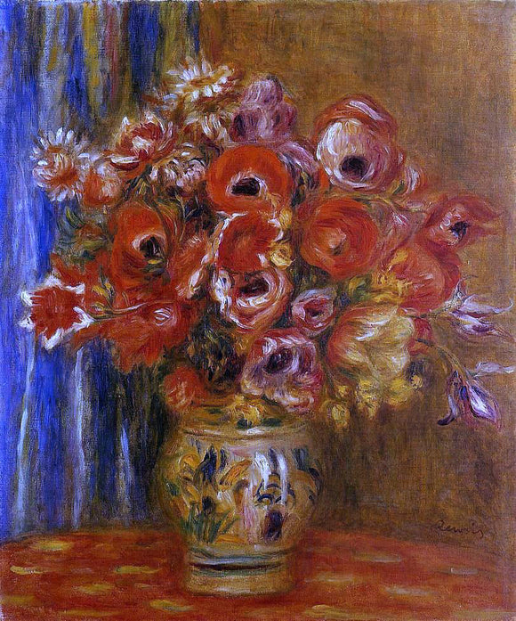 Pierre Auguste Renoir Vase of Tulips and Anemones - Canvas Art Print