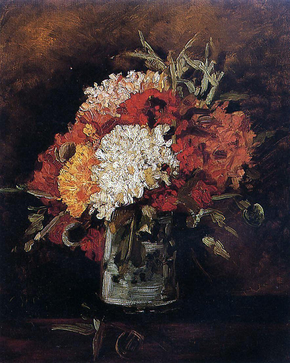 Vincent Van Gogh Vase with Carnations - Canvas Art Print