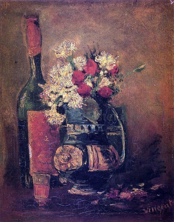 Vincent Van Gogh Vase with Carnations and Bottle - Canvas Art Print