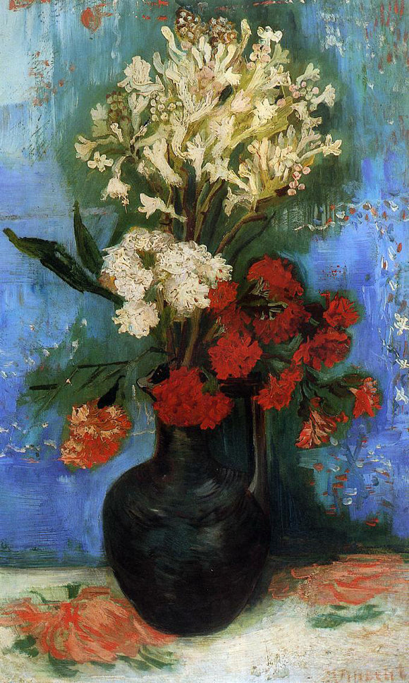 Vincent Van Gogh Vase with Carnations and Other Flowers - Canvas Art Print