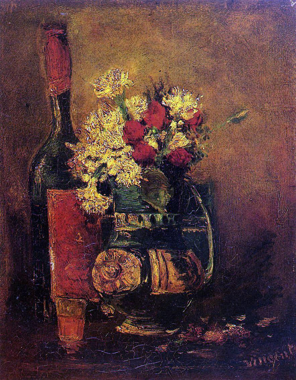Vincent Van Gogh Vase with Carnations and Roses and a Bottle - Canvas Art Print