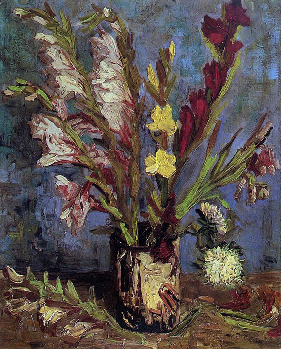 Vincent Van Gogh Vase with Gladioli - Canvas Art Print
