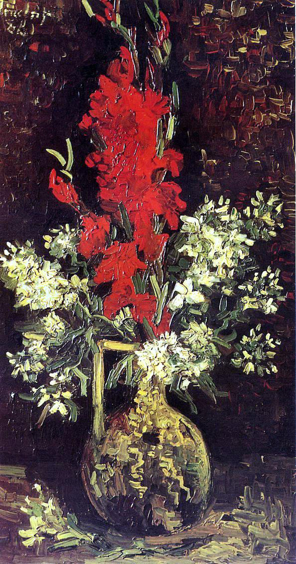 Vincent Van Gogh Vase with Gladioli and Carnations - Canvas Art Print