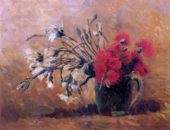 Vincent Van Gogh Vase with Red and White Carnations on a Yellow Background - Canvas Art Print