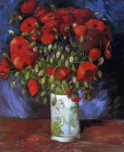 Vincent Van Gogh Vase with Red Poppies - Canvas Art Print