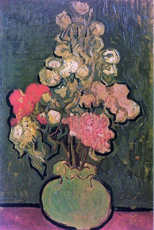 Vincent Van Gogh Vase with Rose-Mallows - Canvas Art Print