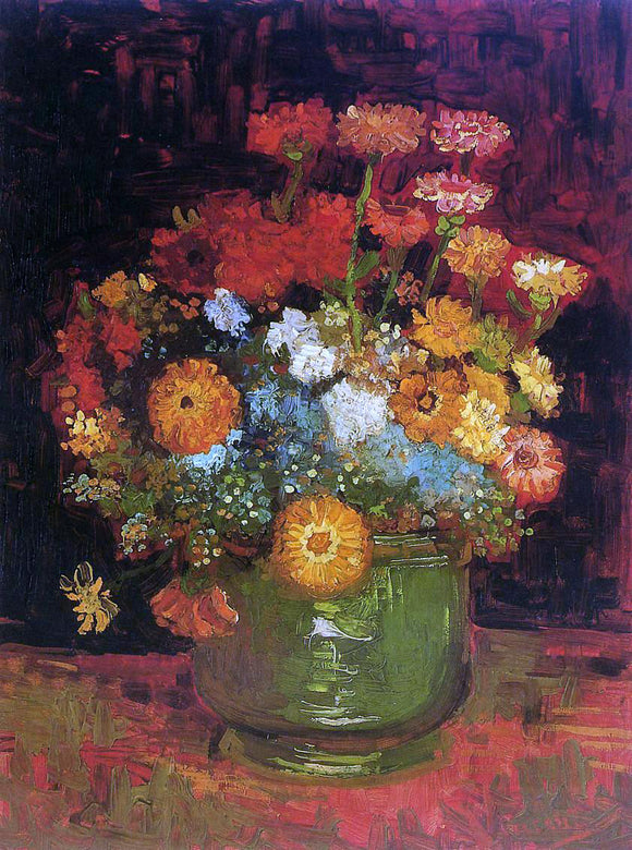 Vincent Van Gogh Vase with Zinnias - Canvas Art Print