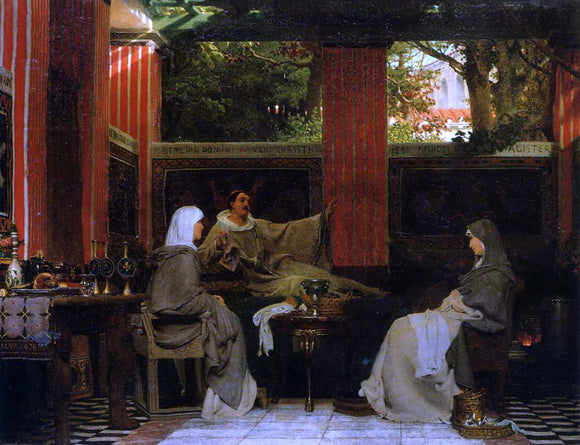 Sir Lawrence Alma-Tadema Venantius Fortunatus Reading His Poems to Radegonda VI - Canvas Art Print