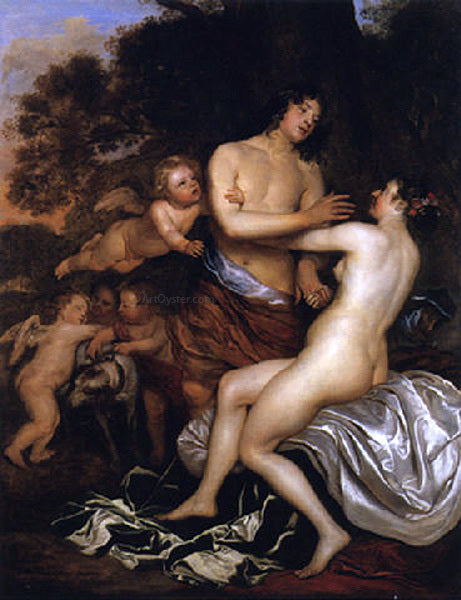 Jan Mytens Venus and Adonis - Canvas Art Print