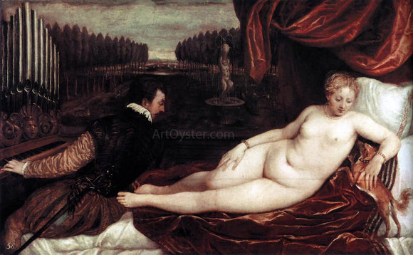 Titian Venus and an Organist and a Little Dog - Canvas Art Print