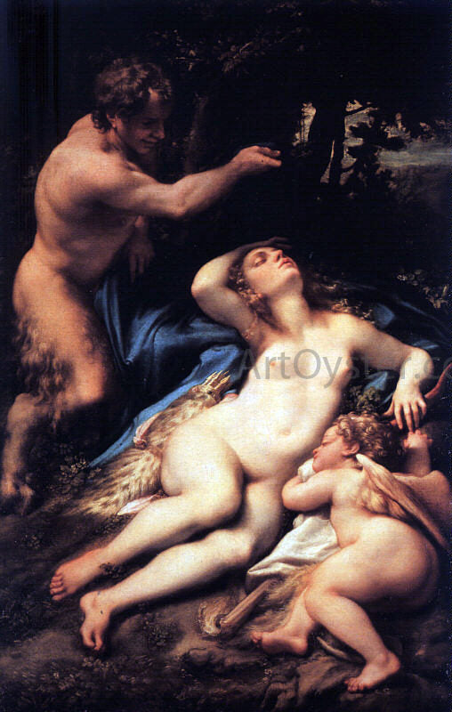 Correggio Venus and Cupid with a Satyr - Canvas Art Print