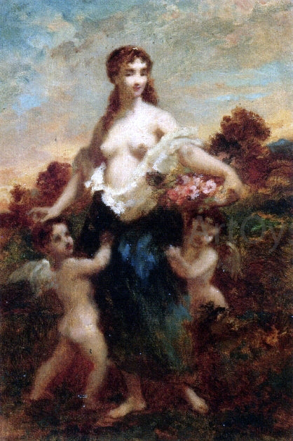 Narcisse Virgilio Diaz De la Pena  Venus and Cupids - Canvas Art Print