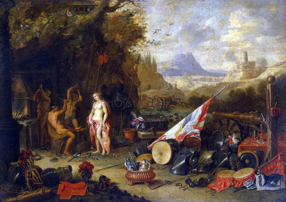 Jan Van I Kessel Venus at the Forge of Vulcan - Canvas Art Print