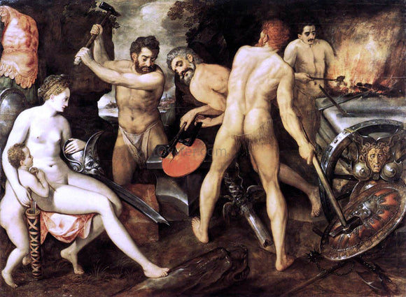 The Elder Frans Floris Venus at Vulcan's Forge - Canvas Art Print