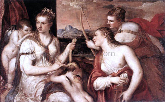 Titian Venus Blindfolding Cupid - Canvas Art Print