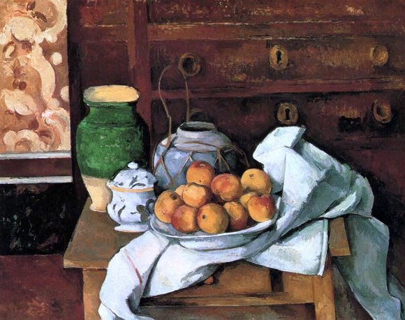 Paul Cezanne Vessels, Fruit and Cloth in front of a Chest - Canvas Art Print
