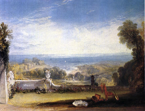 Joseph William Turner View from the Terrace of a Villa at Niton, Isle of Wight, from Sketches by a Lady - Canvas Art Print