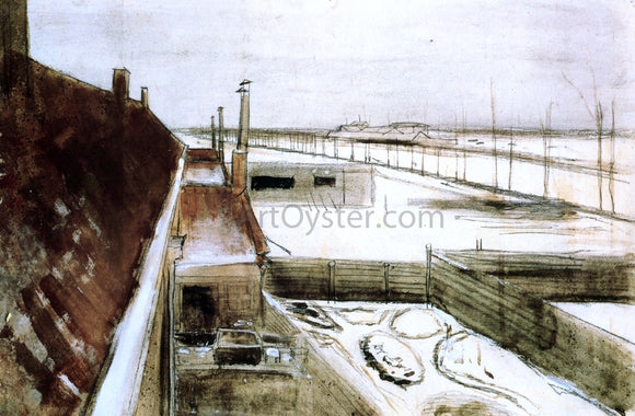 Vincent Van Gogh View from the Window of Vincent's Studio in Winter - Canvas Art Print