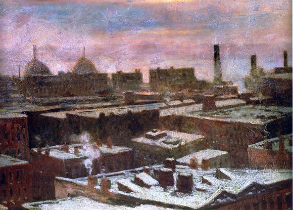 Julian Onderdonk View of City Rooftops in Winter - Canvas Art Print