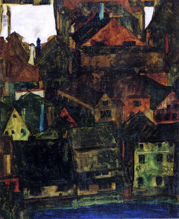 Egon Schiele View of Houses and Roofs of Krumau, Seen from the Schlossberg - Canvas Art Print