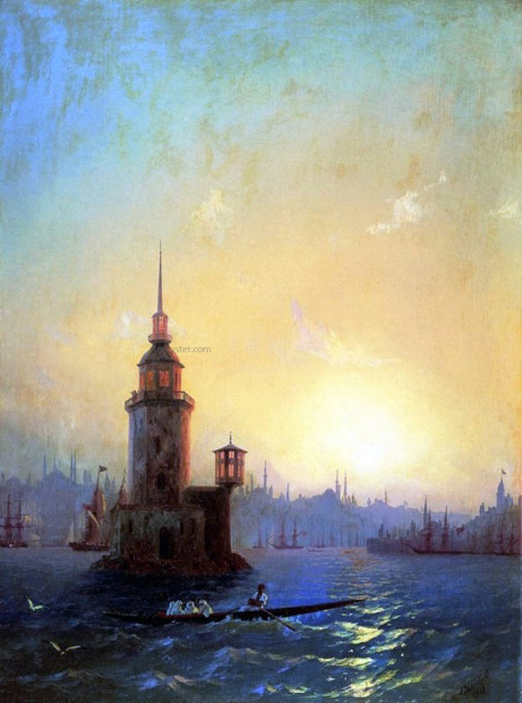 Ivan Constantinovich Aivazovsky View of Leandrovsk tower in Constantinople - Canvas Art Print