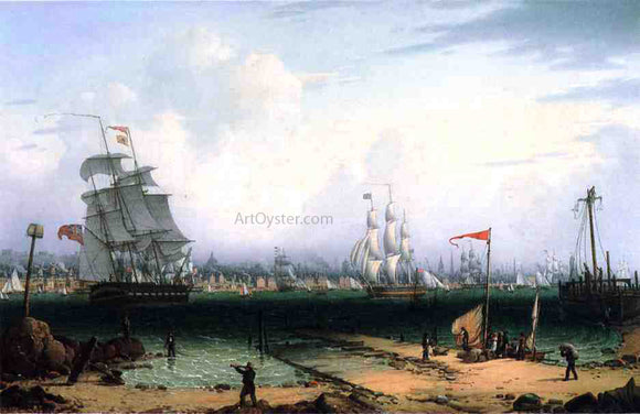 Robert Salmon View of Liverpool from Cheshire - Canvas Art Print