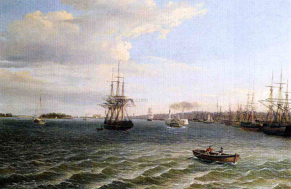 Thomas Birch View of Philadelphia, Looking South on the Delaware River - Canvas Art Print