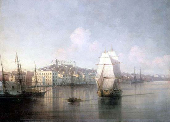Ivan Constantinovich Aivazovsky View of seaside town - Canvas Art Print