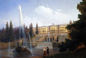 Ivan Constantinovich Aivazovsky View of the Big Cascade in Petergof and the Great Palace of Petergof - Canvas Art Print