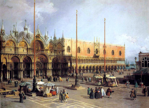 Canaletto View of the Church and the Doge's Palace from the Procuratie Vecchie - Canvas Art Print