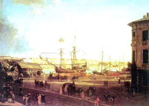 Fedor Yakovlevich Alekseev View of the English Embankmant from Visilievsky Island in St. Petersburg - Canvas Art Print