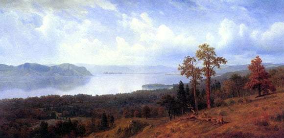 Albert Bierstadt View of the Hudson Looking Across the Tappan Zee Towards Hook Mountain - Canvas Art Print