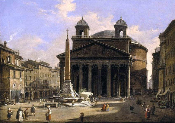 Ippolito Caffi View of the Pantheon, Rome - Canvas Art Print