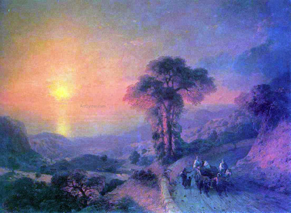 Ivan Constantinovich Aivazovsky View of the Sea from the Mountains at Sunset, Crimea - Canvas Art Print
