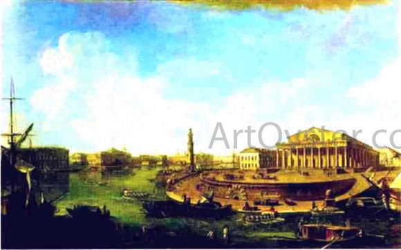 Fedor Yakovlevich Alekseev View of the Stock Exchange and the Admiralty from the Fortress of St. Peter and Paul - Canvas Art Print