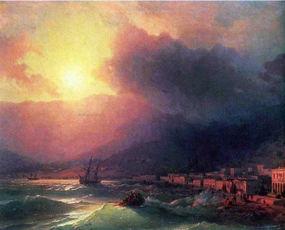 Ivan Constantinovich Aivazovsky View of Yalta on Evening - Canvas Art Print
