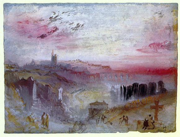 Joseph William Turner View over Town at Suset: a Cemetery in the Foreground - Canvas Art Print