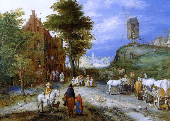 The Elder Jan Bruegel Village Entrance with Windmill - Canvas Art Print