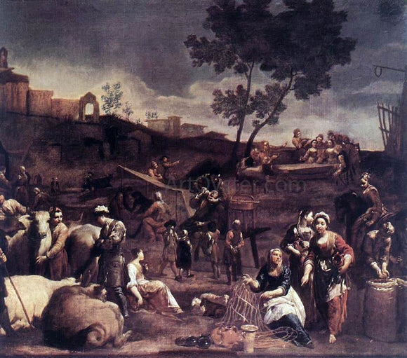 Giuseppe Maria Crespi Village Fair - Canvas Art Print