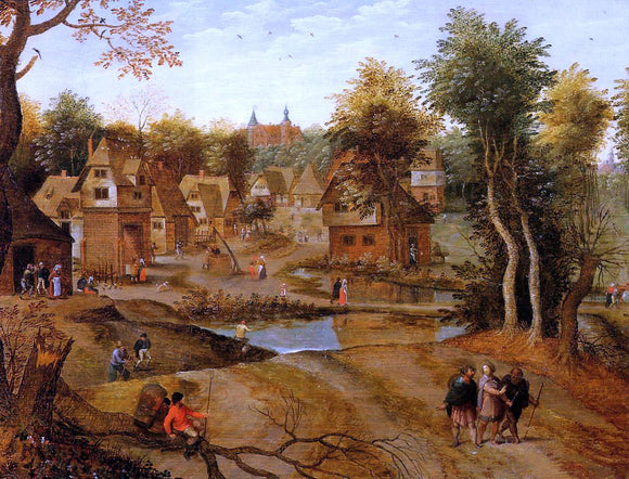 The Younger Pieter Bruegel Village Landscape with Ammaus Pilgrims - Canvas Art Print
