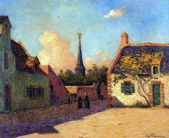Ferdinand Du Puigaudeau Village Plaza - Canvas Art Print